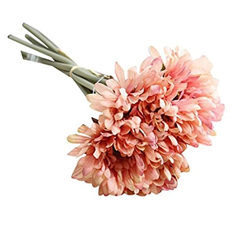 Zycshang 7head Fleurs Artificielles en soie Faux Chrysanthemu Bouquet de mariage de mariage Hortensia Décor Rose