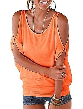 Donna Spalla-off Oversized T-shirt Di Maniche Corte Batwing Camicia con Posteriore Lace-Up