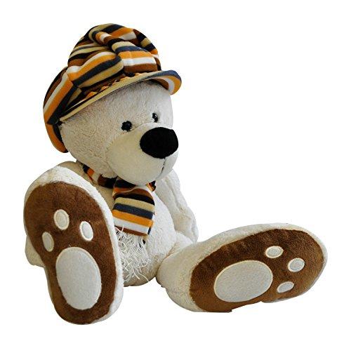 Hug Me 3830042213031 Plüsch Spielzeug Teddybär mit Hut und Schal, 30 cm, weiß - Plüsch-schals