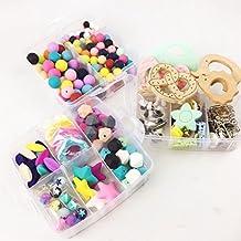 Clips de silicona Beads Teether DIY Crafts Conjunto Chupete Cuna juguete seguro y natural del grano de silicona Teether pendientes del collar del bebé Teether Juguetes