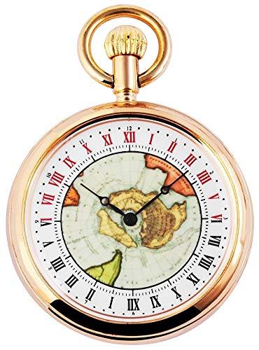 Analog Taschenuhr mit Quarzwerk mit Motiv Alte Karte 485708000017 Goldfarbiges Gehäuse im Maße 50mm x 12mm mit Mineralglas