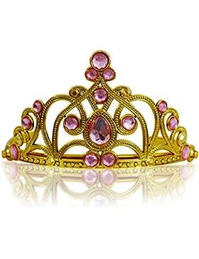 Katara 1682 - Diadema Corona Pietre Coroncina Tiara Principessa Bambine Halloween Carnevale - Oro/Rosa Chiaro