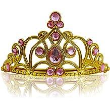 Katara - Diadema de princesa, accesorio de disfraz para niñas, corona de cuentos de hadas, de oro, con cristales rosos claros