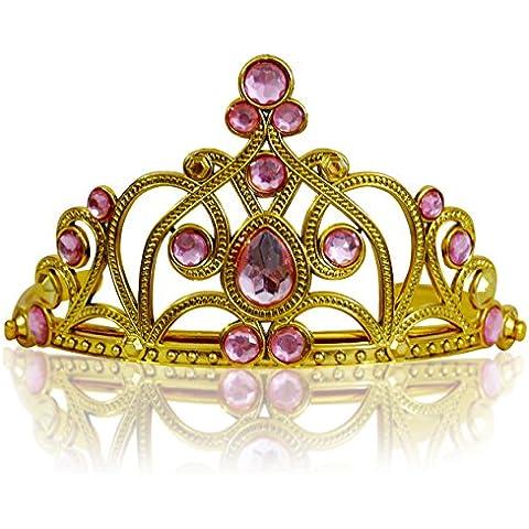 Princesas Disney - Diadema de princesa para niña, color rosa claro / oro, 3-11 años  (Katara 1682)