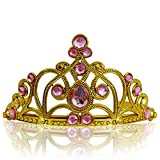 Diadema Corona con Pietre Coroncina Tiara da Principessa per Bambine e Ragazze per Halloween, Compleanno, Carnevali e Feste - Oro/Rosa chiaro