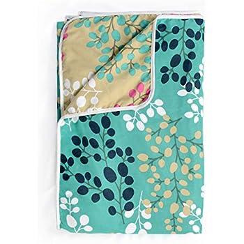 Divine Casa Microfiber Reversible 100 GSM Floral Single A/C Dohar/Blanket/Quilt - Turquoise and Beige