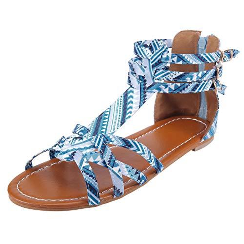 friendGG Damen National Wind Sandalen BöHmischen Stil GroßE GrößE Sommer Schuhe AlltäGliche Arbeit Im Freien Freizeit LäSsig Mode