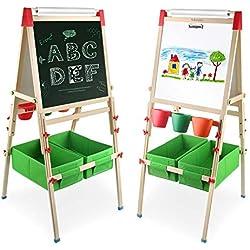 Arkmiido Pizarra Madera 4 en 1 Caballete de para Niños Pizarra Infantil Magnética Altura Austable con Eje de Dibujo y Rollo de Papel Educación Aprendiendo Herramientas de Pintura