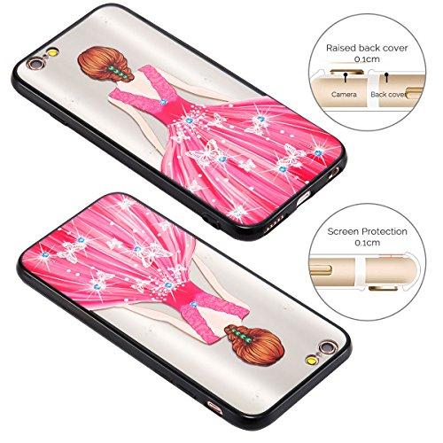 Cover iPhone 6 (4.7 pollici) Case iPhone 6S Custodia Spiritsun Moda Ultraslim TPU Case Elegante Carina Souple Flessibile Morbido Silicone Copertura Perfetta Protezione Shell Paraurti Custodia Per iPho Abito Rosa Farfalla