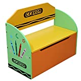 Kiddi Style Childrens Wooden Toy Storage Box and Bench (Crayon Themed)