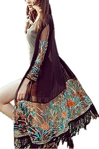 Monissy Femmes Cardigan Brodé Originale En Mousseline De Soie Frangée Robes Femmes A Manches Longues