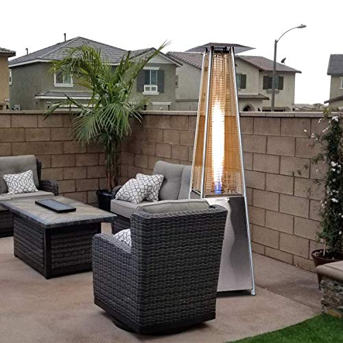BU-KO Calentador Patio a Gas para Exterior | Jardín, Terraza, Barbacoa | Estufa Piramidal al Propano - 13kw | Ruedas | Chimenea Acero Inoxidable para LPG & Cubierta Impermeable