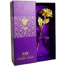 iShine Rosa 24K Chapado en Oro Rosa Flor con Caja de Regalo para Regalos Personalizados, Regalos de Compromiso, Cumplea?os y el D¨ªa de San Valent¨ªn para los Regalos de la esposa, Novia