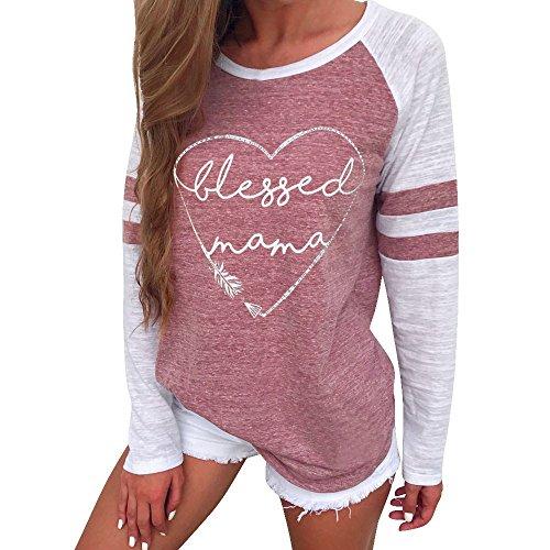 Damen Streifen Langarmshirt Tops MYMYG Elegant Lose Baseball T-Shirt Sweatshirt ()