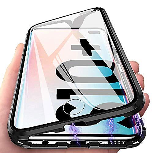 Galaxy S10 Plus Hülle Magnetic Adsorption Handyhülle für Samsung Galaxy S10 Plus, E-Lush Hülle Ultra Dünn Durchsichtig Handy Hülle 360 Grad Komplettschutz Metall Bumper mit Gehärtetes Glas, Schwarz