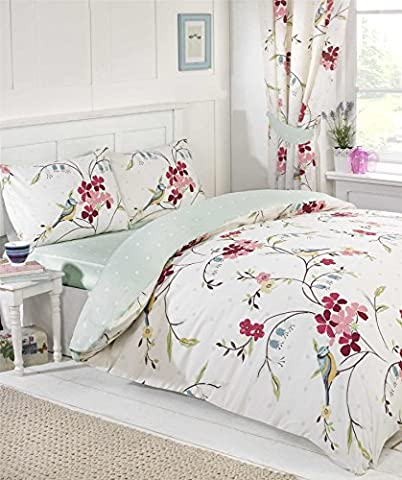Signature Floral Bird Quilt Duvet Cover and Pillowcases and Curtains and Fitted Sheet Room in a Bag Reversible Bedding Bed Set, White,