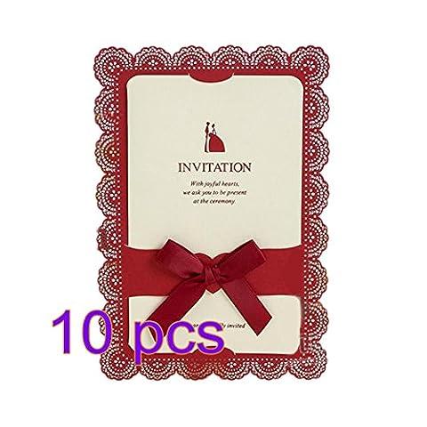 10x Demarkt Hochzeit Einladungen Einladungskarten Hochzeit Karte Spitze Rot