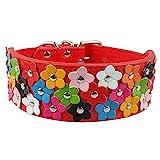 Dogs Kingdom Blume Muster 4Farben 3Reihe PU-Leder Hundehalsband Pet Halskette