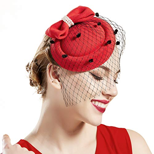 Coucoland Damen Fascinators Hut mit Perlen Schleife Mesh Hochzeit Braut Elegant Fascinator Haarreif Englische Cocktail Tee Party Damen Fasching Kostüm Accessoires (Rot) (Cocktail Party Kostüm)