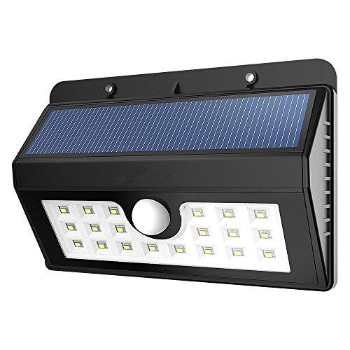 20 LED Solarleuchten,SUAVER Wetterfest Sicherheit Solarleuchten Bewegungs Sensor Licht mit 3 Intelligente Modi für Outdoor Gartenzaun Deck Patio Yard (3-licht-bewegungs-sensor-licht)