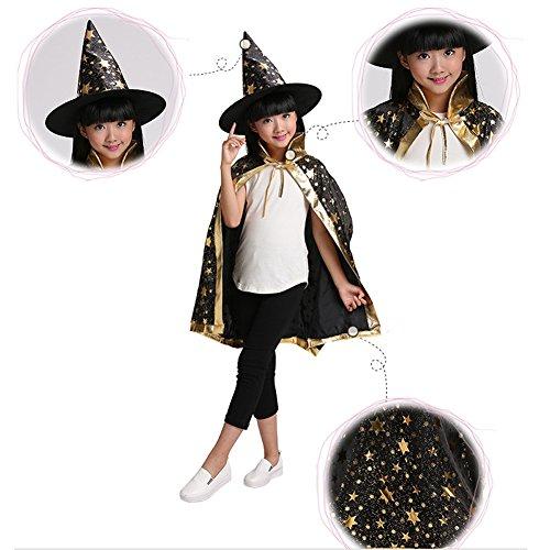 Halloween Kostüm Schwarz Halloween Kinder Kostüm Mit Hexenhut Sterne Halloween Umhang Zauberer-Kostüm Cosplay Fasching Halloween Kinder Umhang Mit Sternen Jünge Mädchen (Halloween Kostüm)