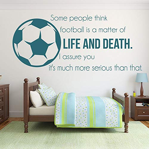 Fußball Fußball Vinyl Wandaufkleber Fußball Ist Leben Und Tod Inspirierend Zitate Wandaufkleber Sport Kunst Aufkleber Wandbild 38x88 cm - Inspirierende Fußball