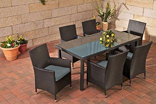 Gartenmöbel, Gartenmöbel-Set, Sitzgarnitur Florenz, eisengrau / schwarz, Polyrattan-Aluminium-Gestell, Gartengarnitur, Sitzgruppe