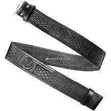 Para falda escocesa de piel para cinturón diseño de en relieve diseño de símbolo celta y balón de Thistle M cinturón de piel de distintos tamaños, L, XL