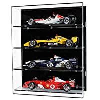 Widdowsons Display Cases Wall Display Case for Four 1:18 Scale Model Formula One Cars, Acrylic, 35.2 x 16.5 x 43 cm