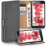 moex Samsung Galaxy J5 (2015) | Hülle Dunkel-Grau mit Karten-Fach 360° Book Klapp-Hülle Handytasche Kunst-Leder Handyhülle für Samsung Galaxy J5 2015 Case Flip Cover Schutzhülle Tasche