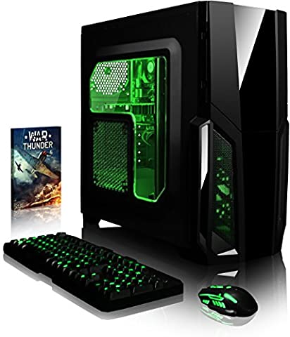 VIBOX Gaming PC - Pyro GS310-63 - 3.9GHz Intel i3 Dual Core CPU, GT 710 GPU, Budget, Desktop Computer with Game Bundle, Green Internal Lighting and Lifetime Warranty* (3.9GHz Intel i3 7100 Kabylake Dual 2-Core CPU Processor, Nvidia GeForce GT 710 1GB Dedicated Graphics Card GPU, 16GB DDR4 2133MHz High Speed RAM Memory, Super Fast 120GB Solid State Drive SSD, 2TB (2000GB) Sata III 7200rpm Hard Drive HDD, 85+ Rated PSU, Gamer Case, B250 Motherboard, No Operating System Installed)