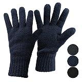 ALPIDEX Thermo Strickhandschuhe Dark Sheep mit Thinsulate für Damen und Herren Unisex Thinsulate Füllung Fingerhandschuhe für Erwachsene Größen S bis L, Größe:M, Farbe:Dark Blue