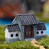 Milopon Mini Gartendeko Micro Landschaft Deko Miniatur Haus aus Harz für Puppenhaus Puppenhausmöbel Gartenmöbel Deko Garten
