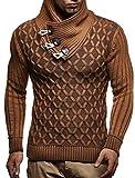 LEIF NELSON Herren-Strickpullover |Strick-Pulli mit Schalkragen | Moderner Woll-Pullover Langarm Sweatshirt mit Knöpfen Kleidung Männer