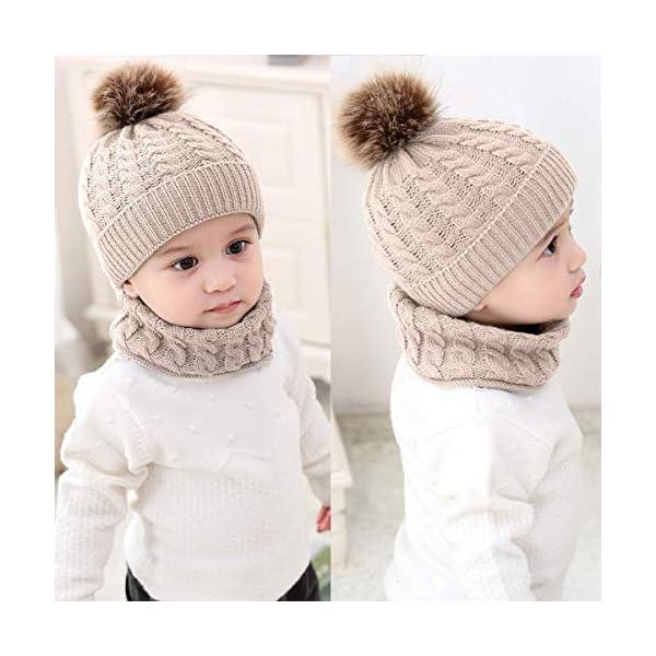Lumsinker 2 Piezas Bebé De Punto Sombreros Conjunto de Bufanda Gorro Beanie 2
