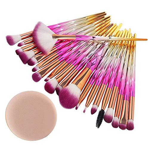 Beauty-Tools,Jaerio 20PCS Make Up Foundation Eyebrow Eyeliner Blush Cosmetic Concealer Brushes Holzgriff, farbiges Faserhaar, Mascara, Augenbrauenstift, Eyeliner, Valentinstag, Freundin