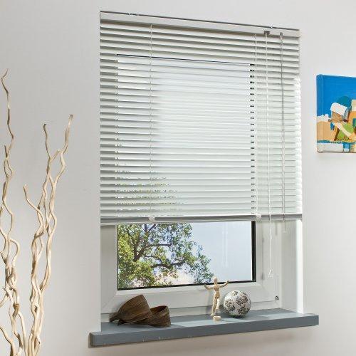 OBI Alu-Jalousie Burgos Aluminiumjalousie Jalousette Innenjalousie Fenstervorhang Aluminiumlamellen | Weiß | 100 x 160 cm