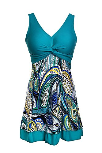 Ecupper One Piece Shaping Body Floral Swimwear Swimdress Plus Size Bathing Suit For Women