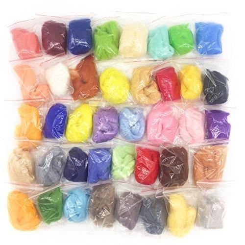 YSZ 40 Farbe Wollfaser Roving Für Nadelfilzen Kits DIY Materialien Hand Pick Up High Standard Wolle 3g / 0,1 Unzen pro Farbe -