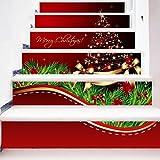 GPFDM 3D DIY Autocollants D'escalier Créatif Merry Christmas Rouge Décoration de Vacances Combinaison Fond D'écran Coloré Grand arbre de Noël Imperméable HD Mural Art Stickers Muraux , 1 Set 12 pcs , 100*18cm