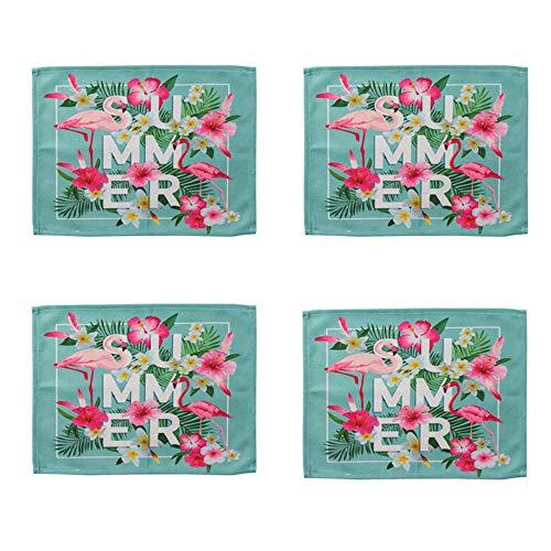 HOMDREAM Tischsets 4 Stücke Baumwolle Leinen Flamingo 10 * 30 cm Tischsets Esstisch Matten Für Home Kitchen Party Sommer Und Picknicks Im Freien,D