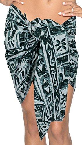 La Leela 100% cotone simboli handpaint geo bikini sarong donne 78x21 pollici verdi