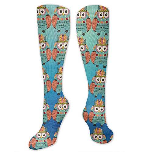 ouyjian Knee High Socks Folk Custom Owl Graphic Kompressionssocken Sports Athletic Socks Tube Strumpfs Long Socks Funny Personalized Gift Socks for Women Teens Girls -