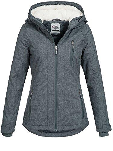 Sublevel Damen D5174X44400A Winterjacke Jacke mit gefütterter Kapuze 9 Farben XS-XL Black Blue Melange XS