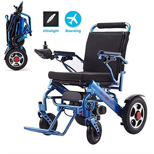 Sillas de Ruedas eléctricas, Ligeras y Plegables, Resistentes, fáciles y fáciles de Conducir para una Mayor Comodidad, Azul,Blue