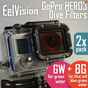 EelVision Red and Magenta Filters for GoPro HERO4 HERO3+ HERO3 (2 pack: BG+GW) Dive Filter / Scuba Diving / Underwater Color Correction