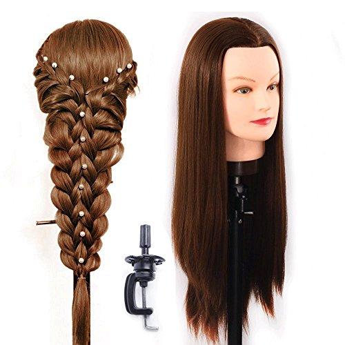 60-65 cm Tête à coiffurer Formation Mannequin Tete d'exercise a coiffer 100% Cheveux synthétique + Titulaire ESC1018P
