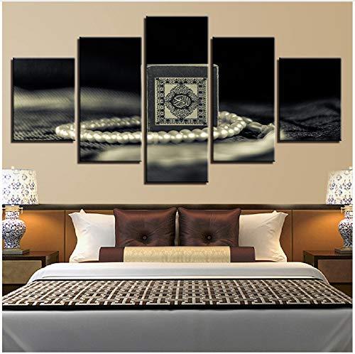 LQWE Leinwand-Malerei Leinwand Hd Print Malerei für Wohnzimmer Dekor 5 Stücke Islam Heilige Quran Bilder Wand Kunst Muslim Koran Poster Modular