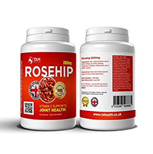 Rosehip Tablets for Arthritis - Rich in Vitamin C - Herbal Medication with Anti-inflammatory Properties Effective in Relieving Some Symptoms Associated with Rheumatoid Arthritis and Osteoarthritis - 60 Rosehip Capsules (1 Months Supply) - Good For Your Joints. Rosehip Benefits Are Also Great For Increased Energy and Motivation, Boosting Your Immunity and General Wellbeing.