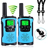 【 UPGRADED 】Children Walkie Talkies Set , Kid Intercom Tool Walky Talky with LED Light , 3KM Long Distance PMR 446MHz 8 Channels VOX LCD Display Walkie Talkies for Indoor/Outdoor Play & Sport (Blue)